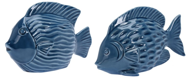 ALX116060-Decorative Fish, 2/Asst, L, Blue, Dolomite, A: 9.5x4x6 & B: 9.5x4x5.5 in