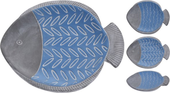 APF645240-Layla Fish Plate, 3/Asst, Cement, 9x8x1.4 in
