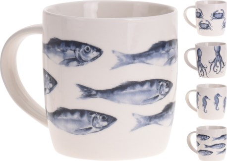 Q75101060-Aquatic 11 oz Mug, 4/Asst, New Bone Porcelain, 3.0x3.3x3.9 in