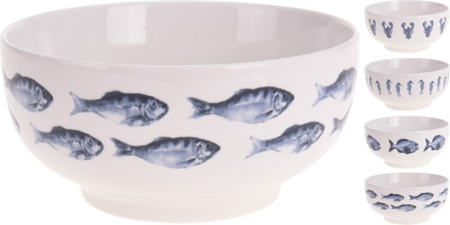 Q75101070-Aquatic Bowl, 4/Asst, New Bone Porcelain, 5.5x2.8 in