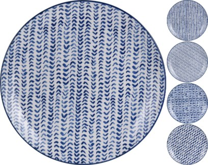 DN1800250-Indigo Plates, 4/Asst, Porcelain, 7 in