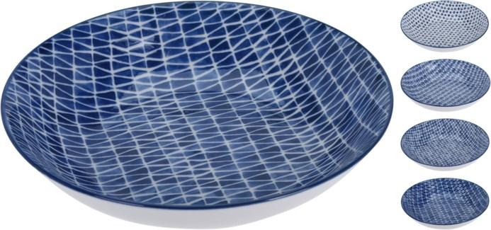 DN1800260-Indigo Deep Plate, 4/Asst, Porcelain, 8 in