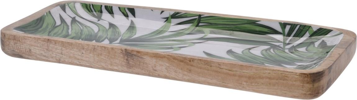 A44320470-Isla Leaf Rectangle Tray, L, Mango w/Enamel Print, 15x8x1.2 in