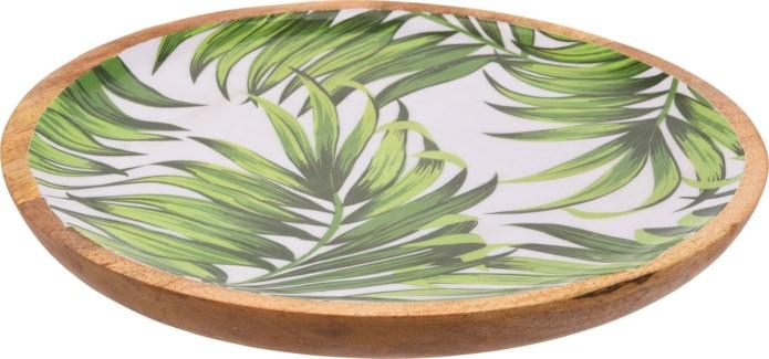 A44320490-Isla Leaf Round Tray, L, Mango w/Enamel Print, 16x1.2 in
