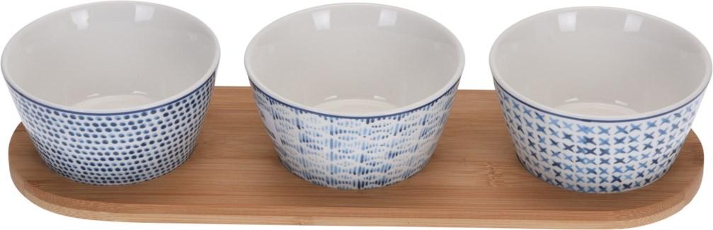 170451410-Indigo Bowl set/3, Stoneware & Bamboo Plate, 13x4x2 in