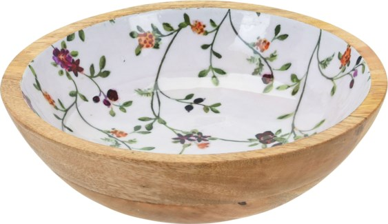 A44320310 Flower Print Mango Wood Bowl Small, 9.4x2.8 in.