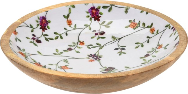 A44320320 Flower Print Mango Wood Bowl Large, 11.8x2.8 in.
