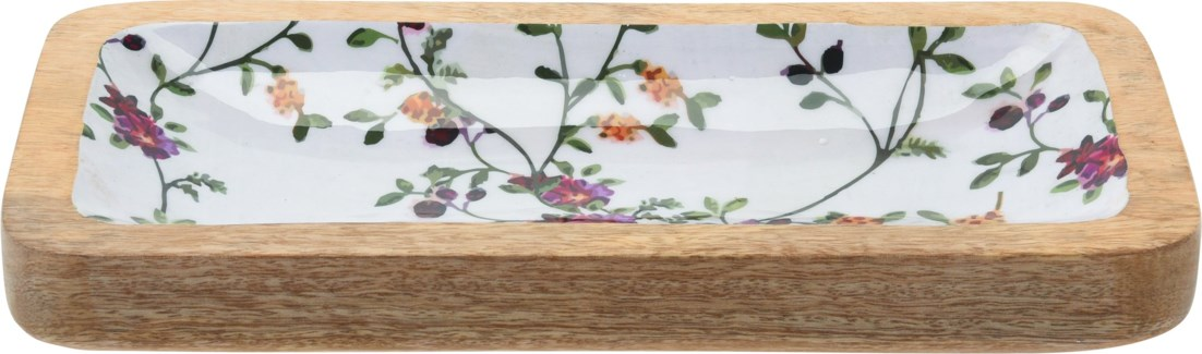 A44320330 Flower Print Tray Small, 14.5x7.9x1.2 in.
