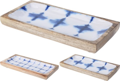 A44320570 Blue & White Print 3Asst Wood Tray Small, 11.8x5.9x1.2 in.