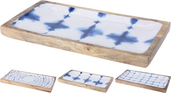 A44320580 Blue & White Print 3Asst Wood Tray Large, 14.6x7.9x1.8