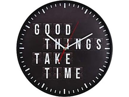 C37568340 Good Things Take Time Clock, Black, 14 D
