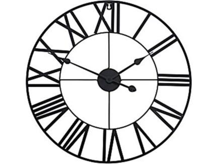 HZ1006800 Roman Numeral Metal Wall Clock, Black, 22  D
