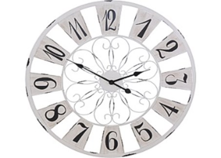 HZ1700120 French Country Wall Clock, Antique White, 29.5  D