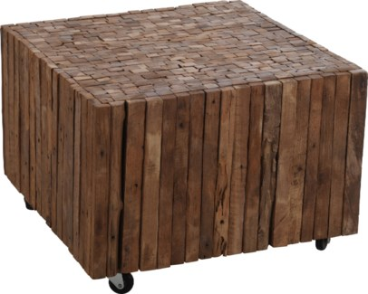 J11300740 Reclaimed Wood Side Table, 22x22x15.7 in.