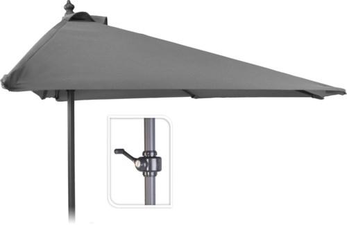X61211120 Half Round Balcony Umbrella, Light Grey, 98.4 in.