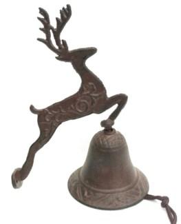 Jumping Deer Bell Cast Iron 6.7x3.9x8.7inch