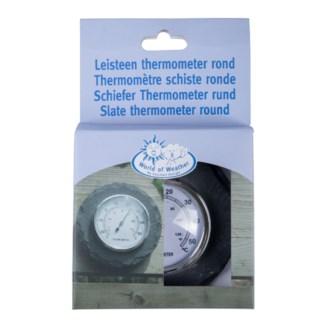 Slate thermometer round. Slate, metal, plexi glass. 10,0x4,0x10,0cm. oq/6,mc/24 Pg.96