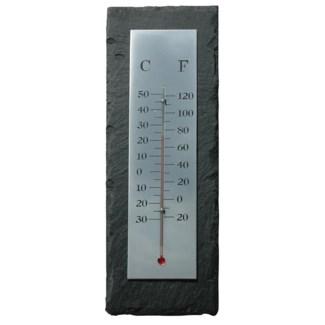 Slate thermometer rectangular. Slate, metal, glass, kerosine. 10,0x3,3x30,0cm. oq/6,mc/24 Pg.96