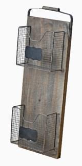 Rustic 2 Slot Organizer, Wood 12.2x5x35 inches