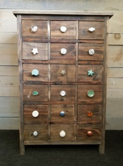 18 Drawer Pull Knob Display Cabinet, 26x12x39 inc knobs seperate. 50% off with the order of $500 in