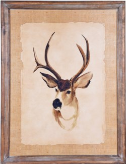 Rustic Framed Deer Picture, Left 33x25x1 inches