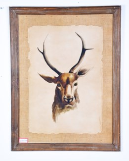Rustic Framed Deer Picture 33x25x1 inches
