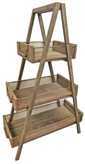 3 Tiered Rustic Wood Shelf w/wire mesh 41x20x65 inch *Made from old recycled wood for best rustic ef