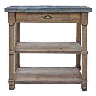 Rustic Wood & Zinc Table 30x19x32 inches *Made from very old recycled wood for rustic best effect*
