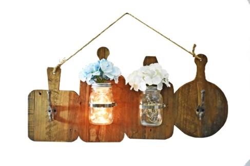 Kitchen Hookboard, w/Mason Jar Vase - Coming Spring 2019 28.7x4.5x13 inches