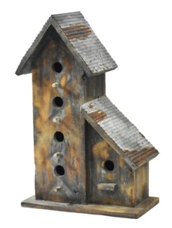 Rustic Birdhouse w/galv roof - Coming Spring 2019 14x7.2x21.6 inches