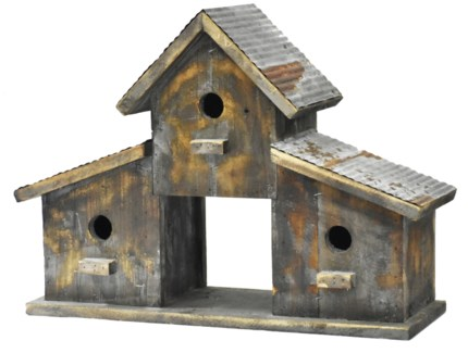 Rustic 3 Birdhouse Barn w/galv roof - Coming Spring 2019 20.8x6.88x15 inches
