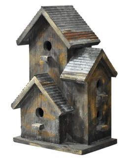 Rustic 3 Tier Birdhouse w/galv roof - Coming Spring 2019 10.8x7.28x17 inches