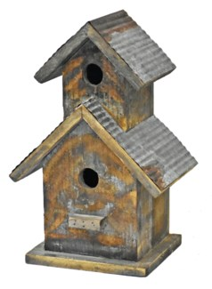 Rustic 2 Tier Birdhouse w/galv roof - Coming Spring 2019 9.4x6.7x14.17 inches