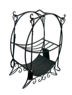 Fireplace tools and stand set. Large. Comes with rack for fire wood, broom, shovel, fire iron and to