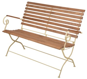 Foldable bench wood/metal/cream. Steel, beech wood. 132,0x63,5x88,8cm. oq/1,mc/1 Pg.109    *Cushio