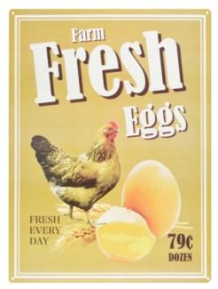 Ad sign fresh eggs. Aluminum. 30,1x0,1x40,1cm. On Sale 25 percent off