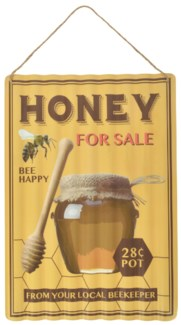 Ad sign corrugated honey - (11x0.5x15.7 inches)