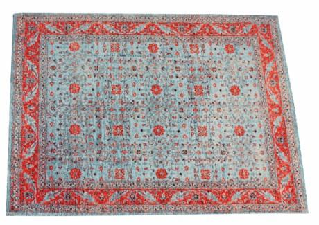 Glory Blue Carpet, 4x6, 100 % Cotton, machine woven, 200gm/sqf India