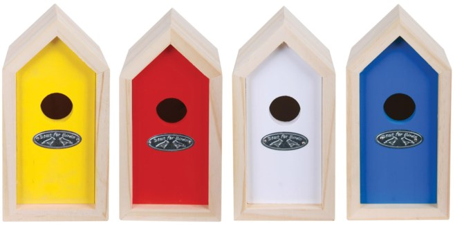 Nest box wren ass. colours. Pinewood. 9,7x10,5x19,5cm. On sale 25 percent off