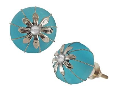 Averie Knob, Blue Sea Glass, 1.2 inch
