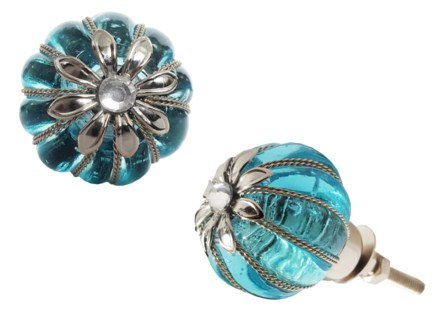 Averie Knob, Blue Clear, Glass,1.2 inch
