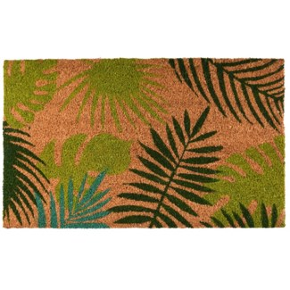 Doormat coir tropical leaves, Coconut fibre, PVC - 29.53x17.72x1.7