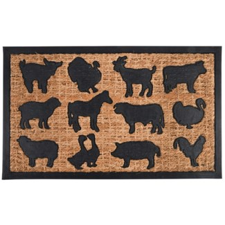 Doormat rubber/ coir farm animals, Coconut fibre, rubber - 29.72x17.83x0.8