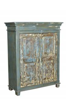 Antique Wood Cabinet, Dist. - 39.4x18.5x50.4 inches