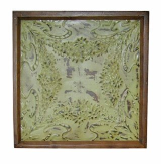 Iron Ceiling Panel in Green, Replica, With Frame - 24x24 inches