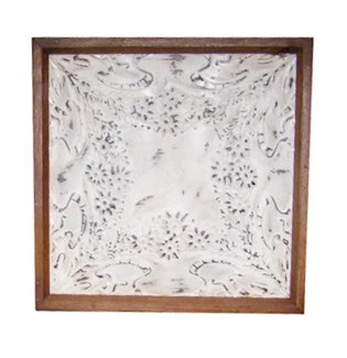 Iron Ceiling Panel in White, Replica, With Frame - 24x24 inches