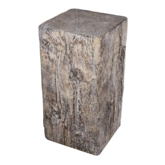 Square Cement Tree Stump Large, 8.7x8.2x15.3 Inches