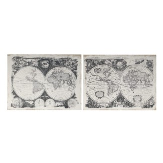 Antique Black & White Map Prints, Set of 2 23.6x1.5x31.5 Inches