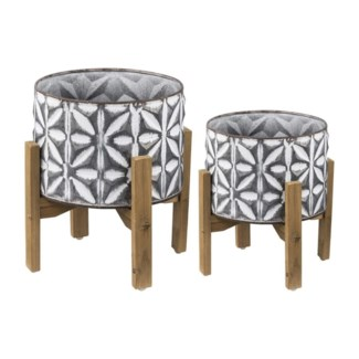 Plant Stand, White, Set of 2, 11.8x11.8x15 Inches