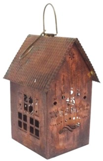 Tall House Hanging Lantern TIS WONDERFUL Rustic Steel 5.5x5x9inch.